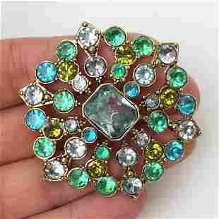 LIZ CLAIBORNE Vtg gold tone green blue crystals brooch