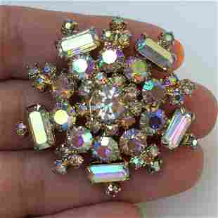 Vintage gold tone iridiscent crystals brooch
