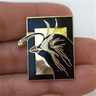 Vintage gold tone enamel rectangular Bird pin brooch
