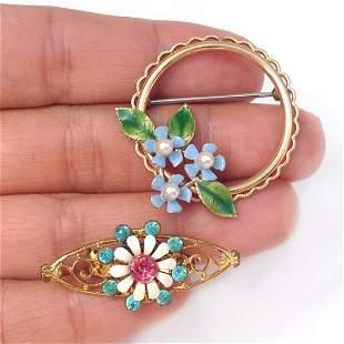 2 Vintage gold tone enamel Flower crystals brooches