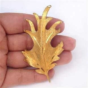 BSK Vintage gold tone textured Leaf brooch, signed