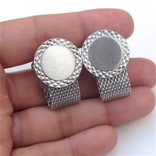 HICKOK Vintage silver tone round cufflinks, signed