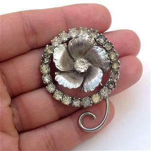 Vintage silver tone Flower brooch with crystals