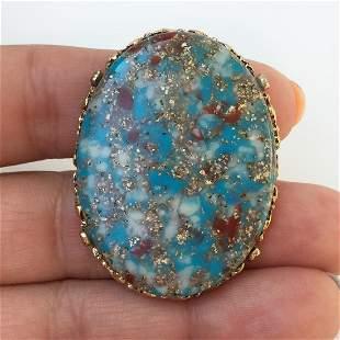 Vintage gold tone blue red gold color oval slab ring