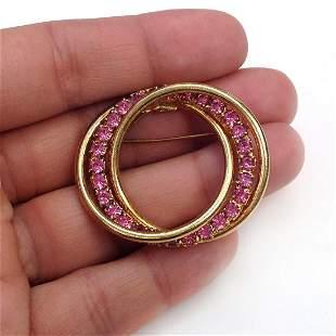 Vintage gold tone Circle brooch prong set crystals