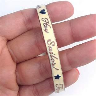 Rose gold tone Hey Sailor bangle bracelet with white