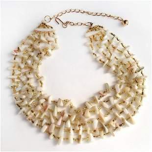 Vintage sea shell free shape bead and yellow citrine