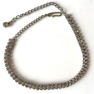 Vintage silver tone necklace with prong set crystals