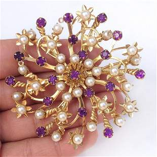 Gold tone amethyst color crystal faux pearl brooch