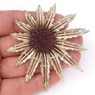 SARAH COV Vintage Gold tone textured Flower Leaf brooch