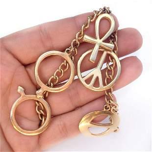Vintage gold tone Ankh Peace Man Woman sign bracelet