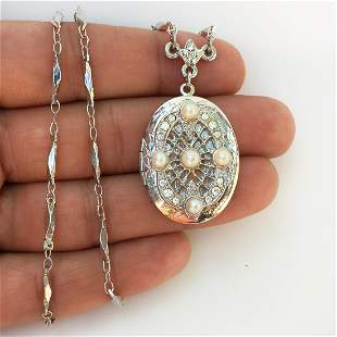 1928 Silver tone faux pearl crystals locket necklace