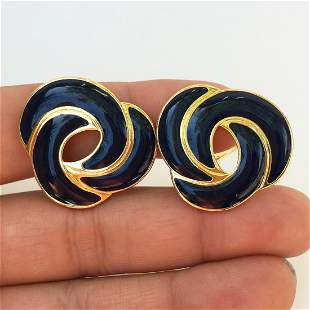MONET Vintage gold tone navy blue enamel ear clips
