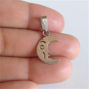 Sterling silver Half Moon Crescent Face pendant charm