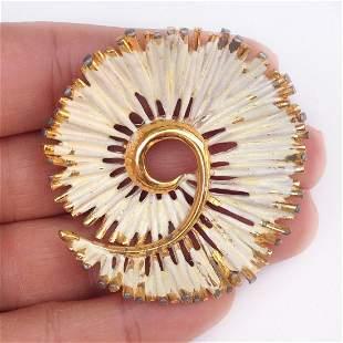 BSK Vintage gold tone Swirl Flower white enamel brooch