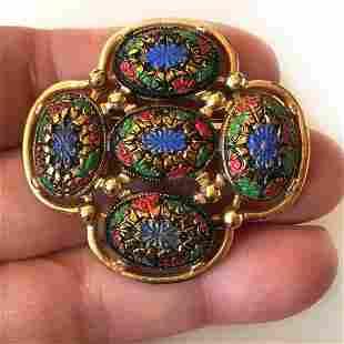 SARAH COV Vintage gold tone flower brooch, signed