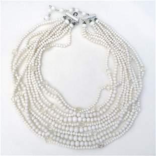 Vintage white round beads multi strand necklace
