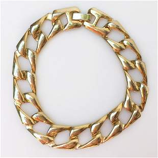 Vintage gold tone flat Cuban link bracelet