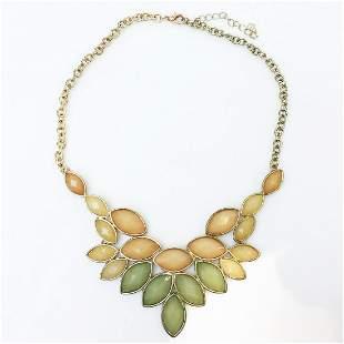 Gold tone orange green Leaf shape statement necklace