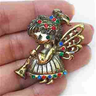 BEATRIX Vintage gold tone Angel playing Horn brooch