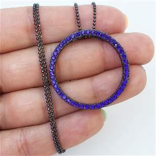 Black tone amethyst color crystal pendant necklace