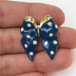 Gold tone blue white polka dot enamel bow brooch