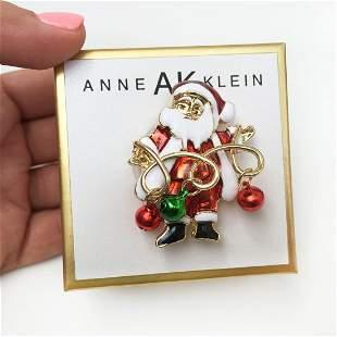 ANNE KLEIN Gold tone Santa Clause bells enamel brooch