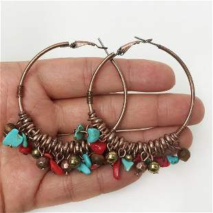 Copper tone turquoise color, coral color chip earrings