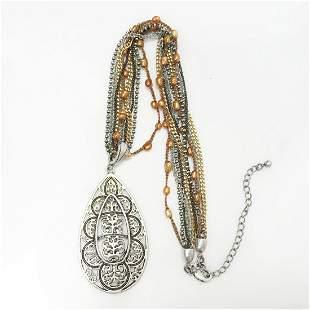 Tri tone chain faux pearl pendant necklace