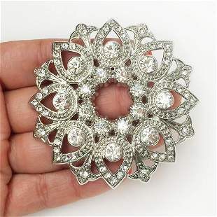 JACLYN SMITH Silver tone clear crystals large brooch