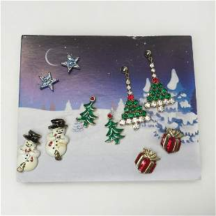 5 pairs Christmas Tree holiday star crystals earrings