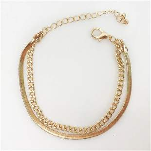 Gold tone curb and flat snake chain anklet