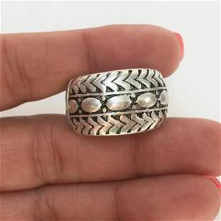 Silver tone matte finish black enamel stretch ring