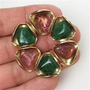 Vintage gold tone rose and green stones brooch