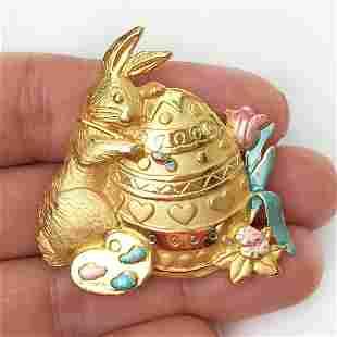 JJ Vintage gold tone enamel Easter Bunny Egg brooch