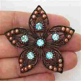 Copper bronze tone faux pearl crystals Flower brooch
