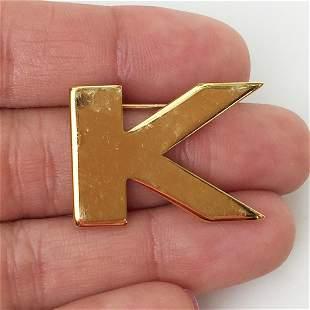 MONET Vintage gold tone Letter K brooch, signed