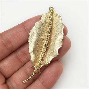CORO Gold tone textured finish Leaf shape brooch