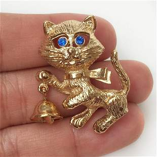 AVON Vintage gold tone crystals Cat with Bell brooch