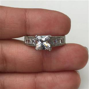 Sterling silver square faceted CZ engagement ring