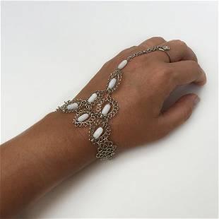 Silver tone white barrel beads hand finger bracelet