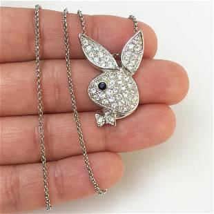 Silver tone crystals Playboy Bunny pendant chain