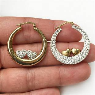 Gold plated sterling silver double heart earrings