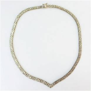 Sterling silver textured Riccio V necklace Italy