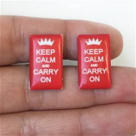 """Silver tone red """"Keep calm and carry on"""" cufflinks"""