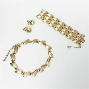 MONET Vintage gold tone ear clips bracelet necklace set