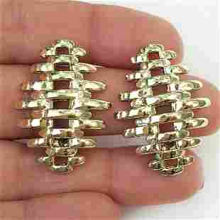 CORO Gold tone ear clips, signed