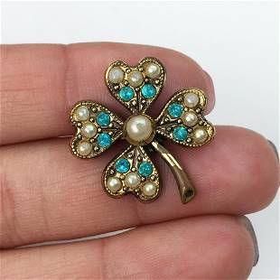 Bronze tone faux pearl blue crystals clover brooch