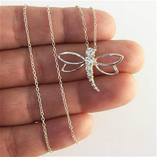 Sterling silver CZ Dragonfly pendant chain necklace