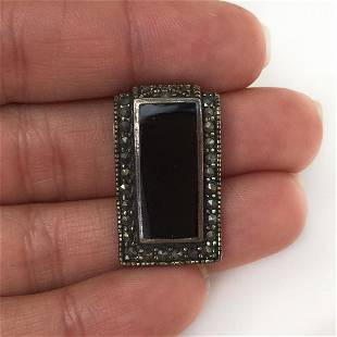 Sterling silver marcasites black onyx pendant